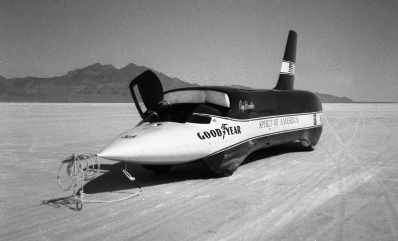 Spirit of America Sonic 1 at the Bonneville Salt Flats in 1965.