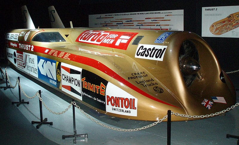 Richard Noble's Thrust 2 world land speed record car, on display at Coventry Transport Museum.